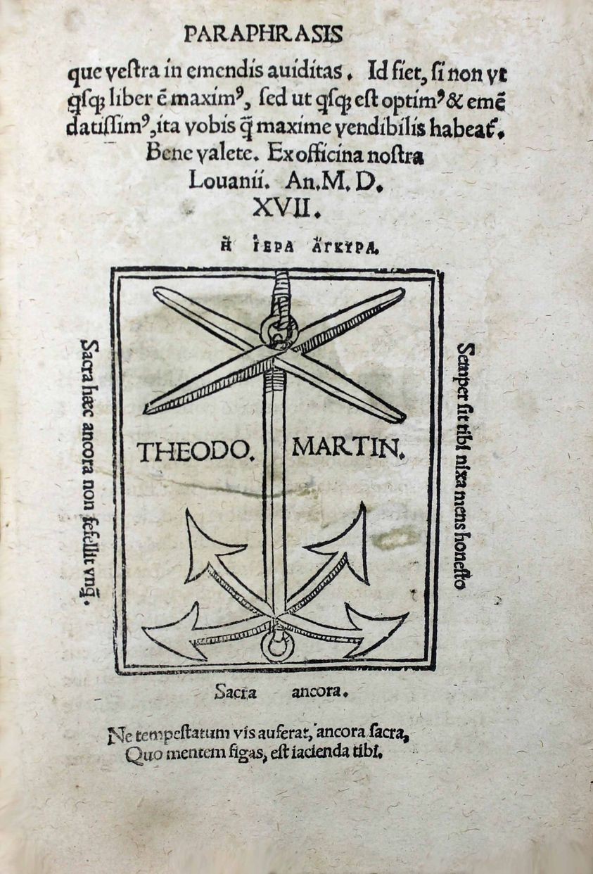 In epistolam Pauli ad Romanos Paraphrasis, Desiderius Erasmus, Louvain, Thierry Martens, 1517